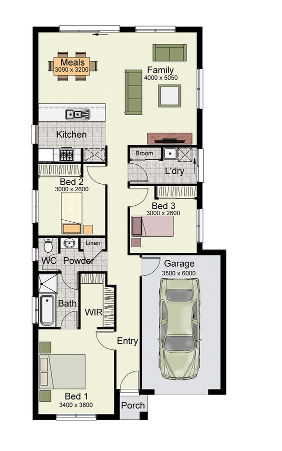 Single story home floor plan with 3 bedrooms, and 137 square meters