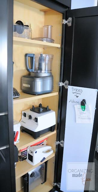 Utility Organizer Cabinet used for storing small appliances :: OrganizingMadeFun.com