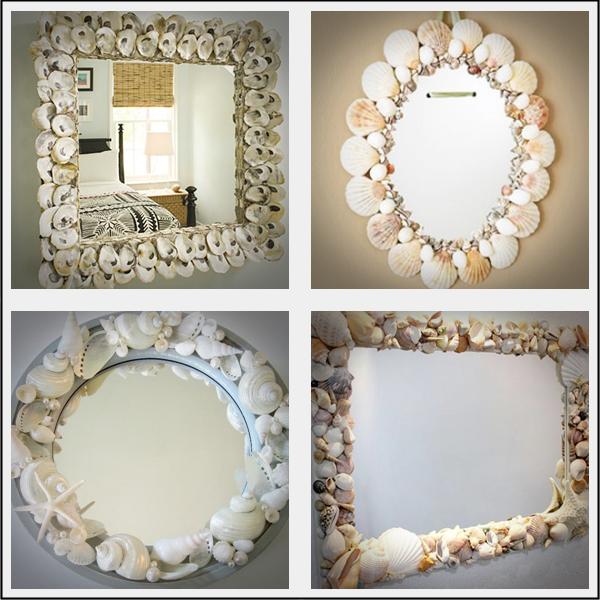 Decoração de espelhos com conchas, estrelas do mar e cascas de ostra