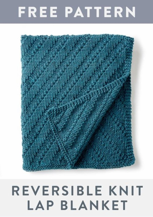 Reversible Knit Lap Blanket - Free Pattern