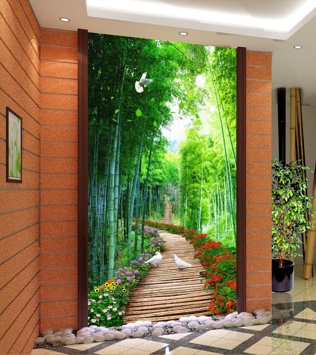Tranh 3d khổ dọc phong cảnh rừng trúc