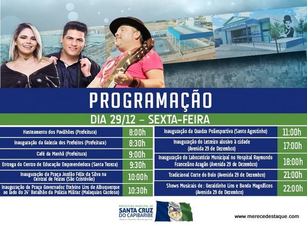 Programações das festas de aniversário da cidade e final de ano em Santa Cruz do Capibaribe