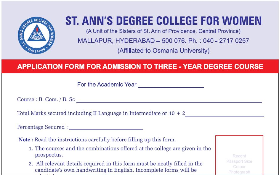 UG APPLICATION FORM