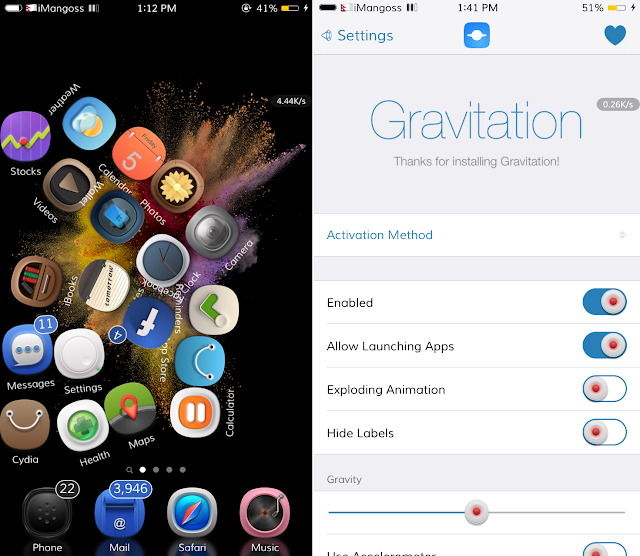 Gravitation is a brand new jailbreak tweak that adds nice gravity motion to your Home screen App icons. If you are a crazy jailbroken users