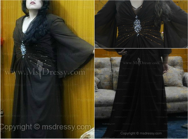 Sheath/Column V-neck Floor-length Chiffon Dress