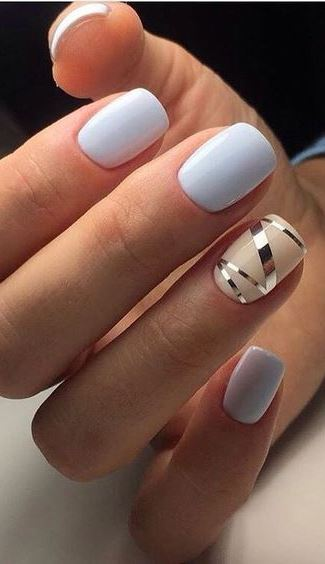 cute blue nail art design