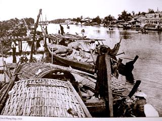 Vecchia foto di mercato galleggiante di Can Tho - Vietnam