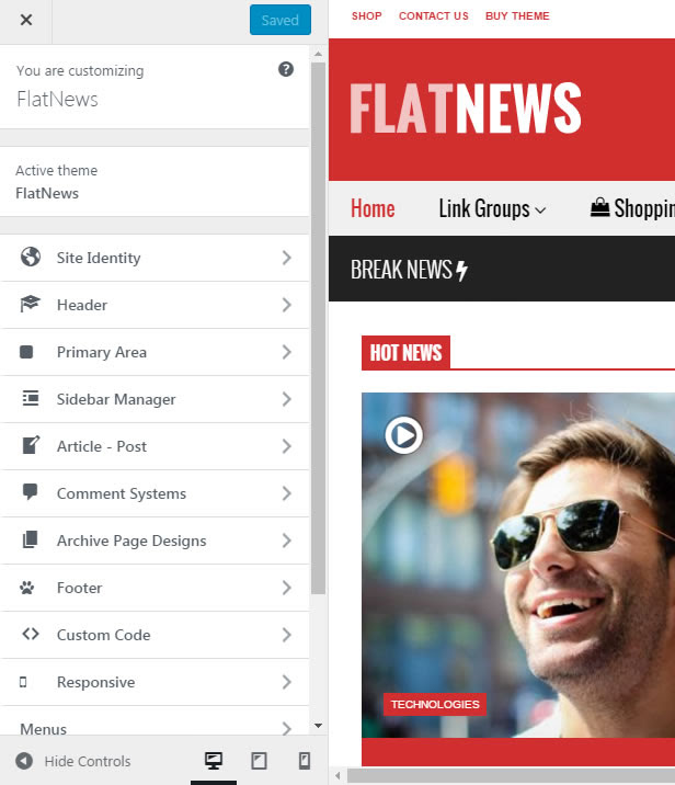 FlatNews – Responsive Magazine WordPress Theme - Live Preview Customizer