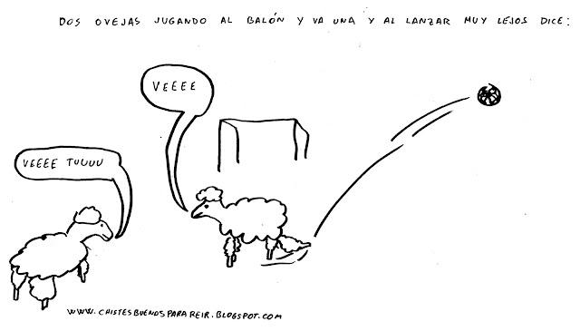 Dos ovejas jugando al balón y va una y al lanzar muy lejos dice: Ve. La otra oveja contesta ve tu