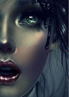 Retrato de mujer rubia con labios rojos