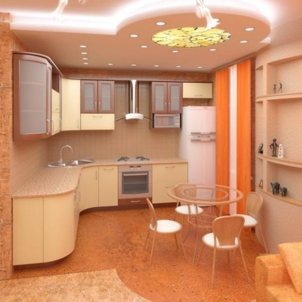 pop false ceiling design with LED lighting in kitchen area