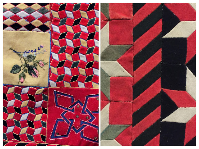 Details of two of the soldier quilts from the exhibit War and Pieced at the American Folk Art Museum, NYC.