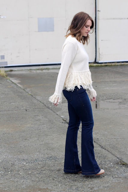 fringe sweater and flares