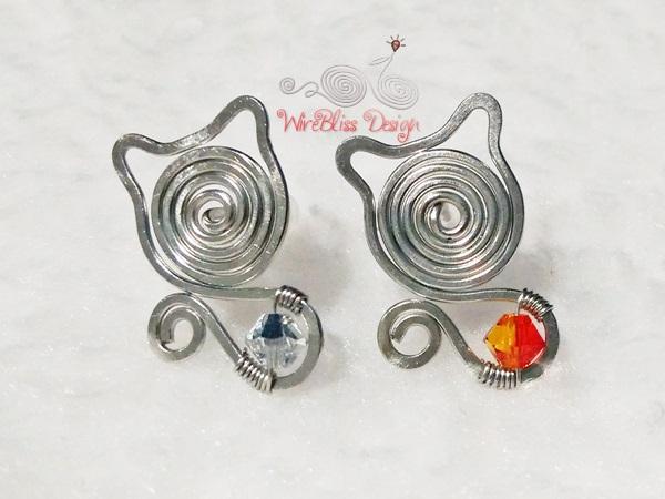 Wire Jewelry - Meow! Meow! Studs ~ WireBliss
