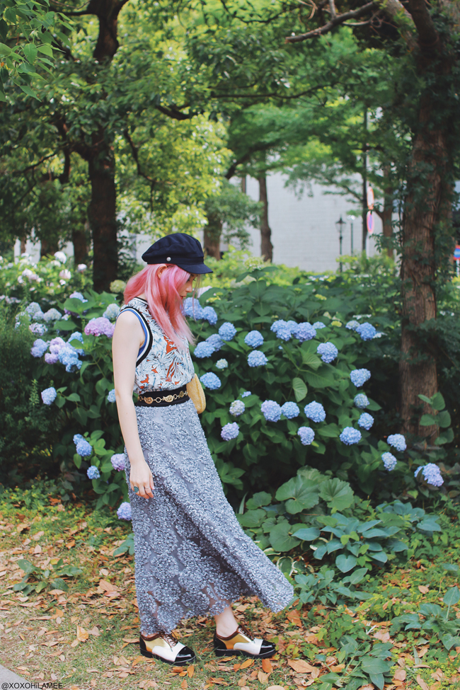 Japanese Fashion Blogger,MizuhoK,20180526OOTD,CHOIES=floral tank top,CHICWISH=gray 3D floral mesh long skirt,SheIn=spectator oxford shoes,ZARA=embroidery beads bag,H&M=SAILOR HATS,Hand me down from mother=golden chain belt