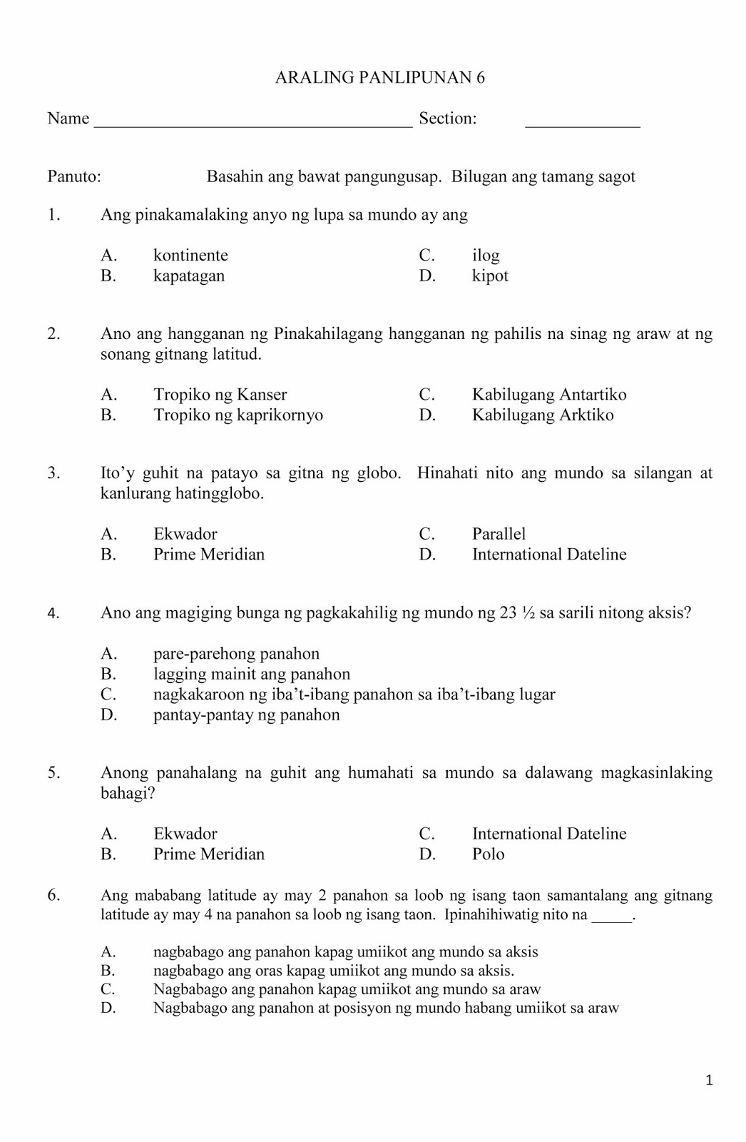 small resolution of Mga Bantas Worksheet Grade 6   Printable Worksheets and Activities for  Teachers