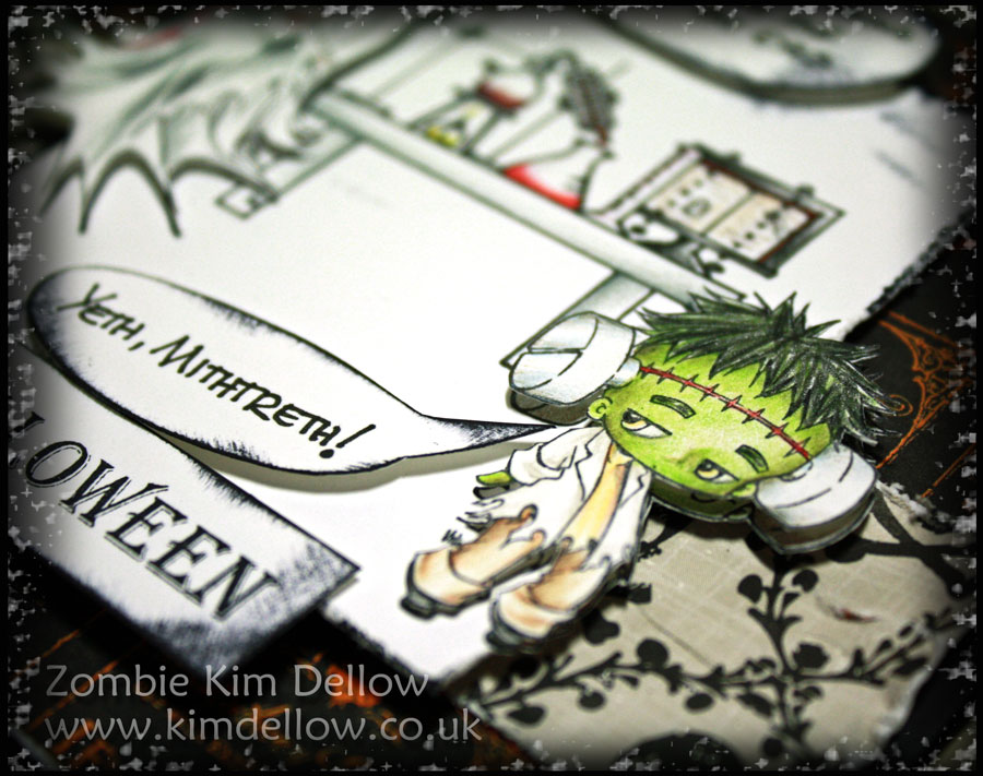 Close-up of A Halloween card with Make It Crafty digi-stamps