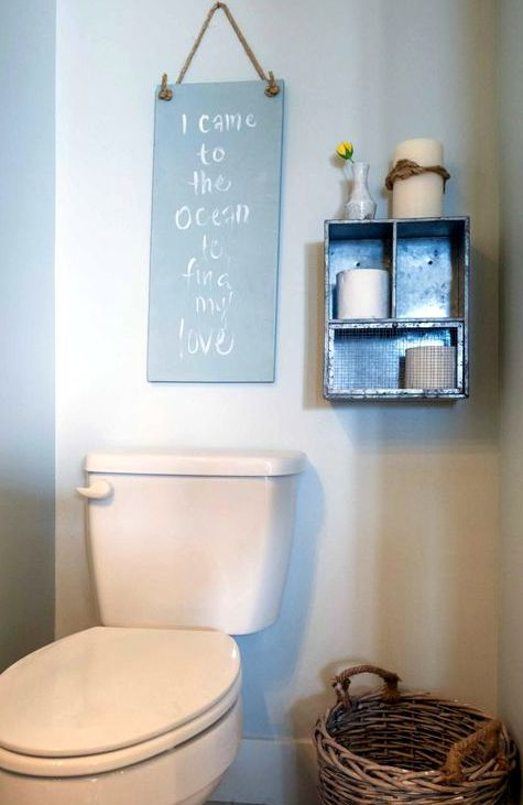 Ocean Quote Wood Wall Art in Powder Room