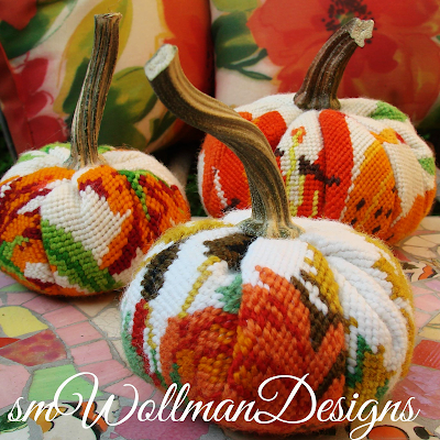 the original heirloom needlepoint pumpkins,  women supporting women, boho style, decorating, fall, farmhouse style, original designs, pumpkins, re-purposing, resources, Romantic Homes Magazine, rustic style, Thanksgiving, up-cycling, vintage, needlepoint