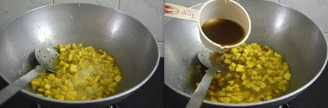 cooking Senai Kizhangu in tamarind water