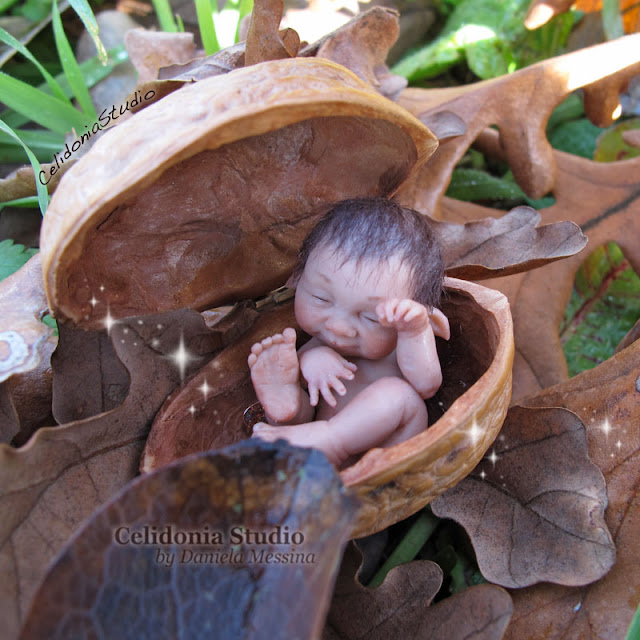 Walnut Elf - Polymer Clay Fairy Art by Daniela Messina - Celidonia