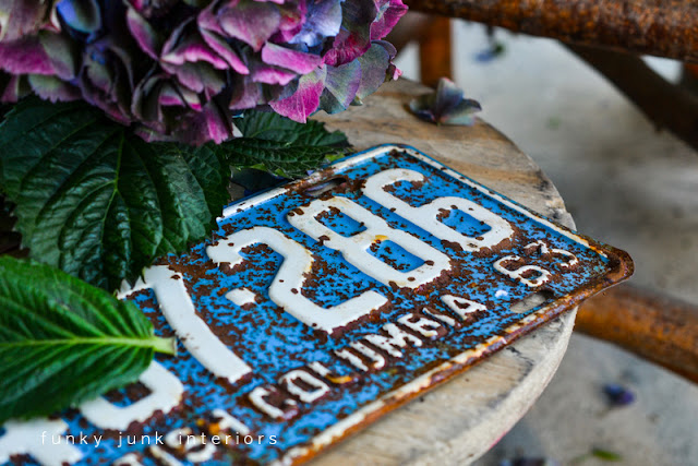 rusty vintage license plates in pastel blue Funky Junk Interiors