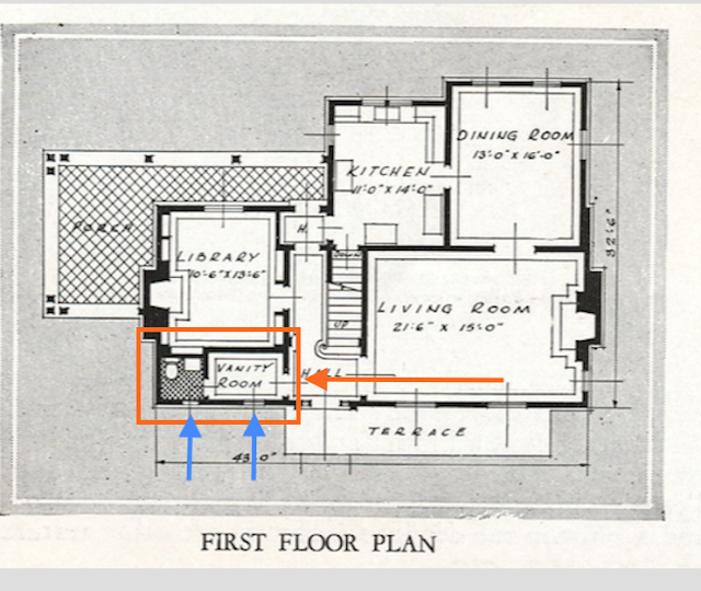 catalog floor plan of Sears New Haven model 1931-32