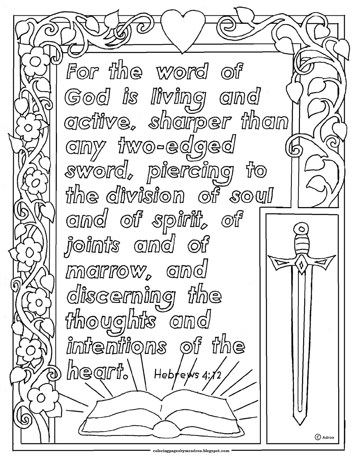 Coloring Pages For Kids By Mr Adron Hebrews 4 12 Print