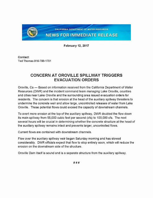 EMERGENCY ALERT #OROVILLESPILLWAY at the #OROVILLEDAM, Butte County, CA is in imminent danger of collapse and evacuations are in progress.