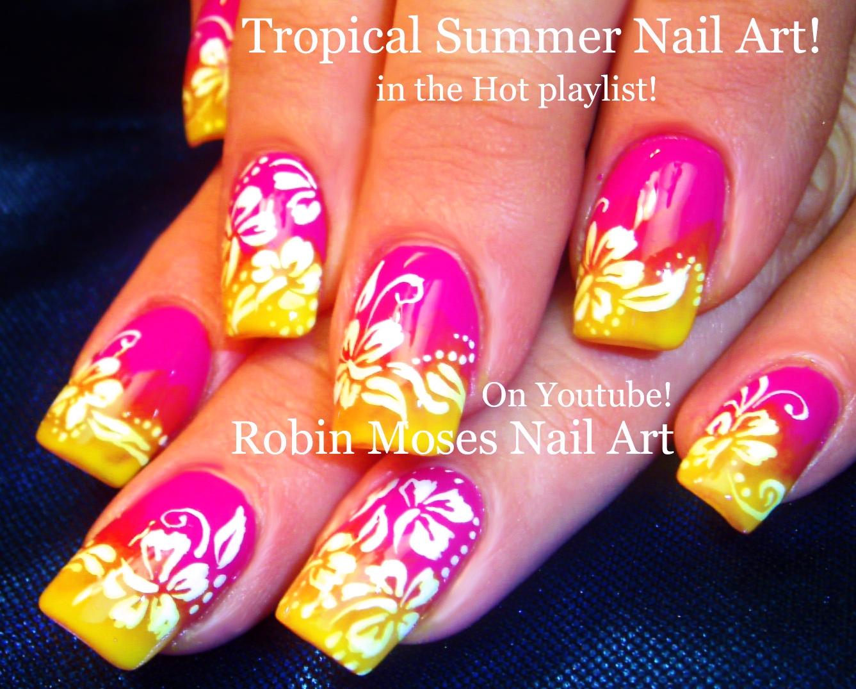 Nail Art By Robin Moses Diy Neon Daisy Nails Hot Flower Nail Art
