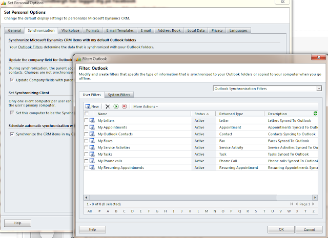 Switching on and off appointment synchronization in CRM for Outlook