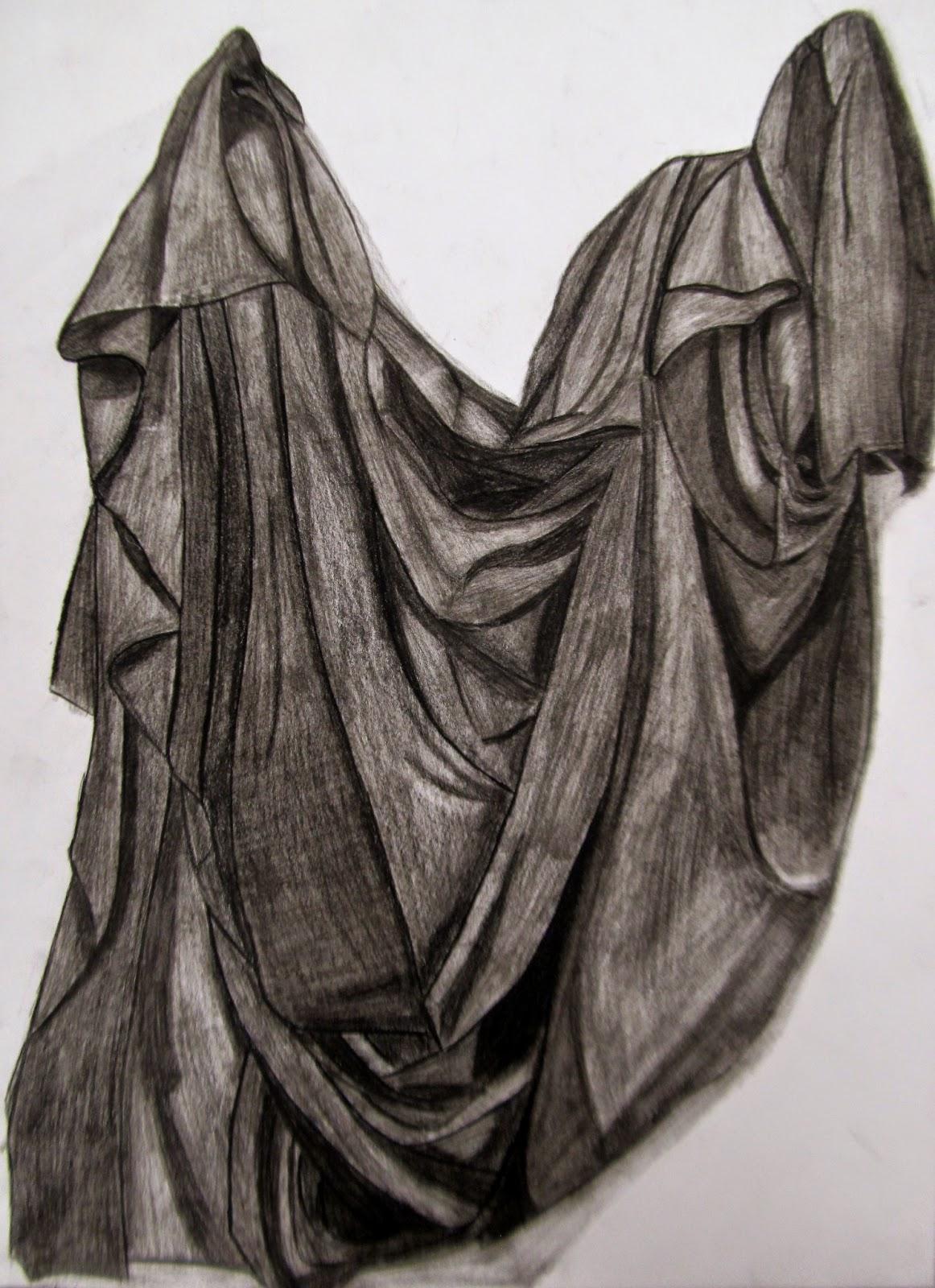 Community High Art : Charcoal Fabric Drawings
