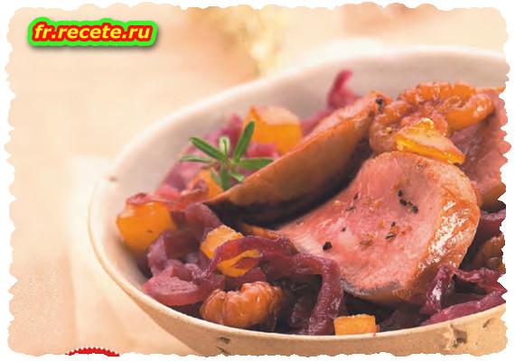 Noisette d'agneau, compote de chou rouge aux poires