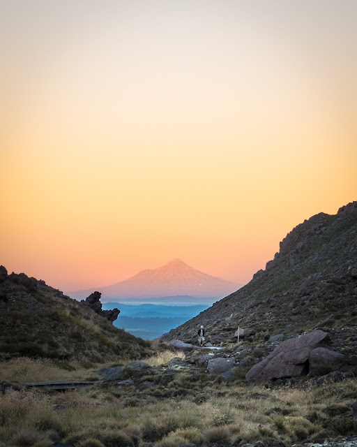 Dawn over Mt Taranaki from tongariro crossing
