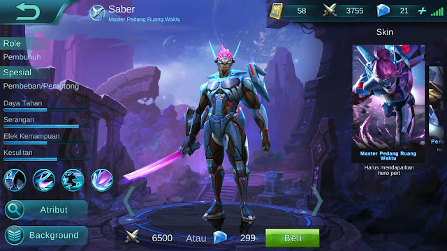 Hero Saber ( Master Pedang Ruang Waktu ) High AD Build/ Set up Gear