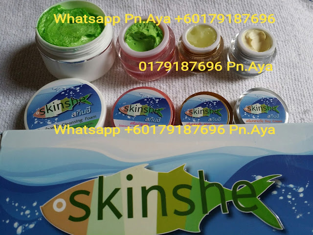 Skinshe Giftset Cream ( Shinete original ) Help reduce wrinkles freckles and dark spots faded. Anti oxidant with natural extracts. Fine white skin smooth and clear. Products you use, you will see the change. Within 15 days of the face.  PRICE: 1 SET RM90 WEST MALAYSIA, RM95 EAST MALAYSIA..FREE POSTAGE WHATSAPP ORDER +60179187696 #skinshe #skinshegiftcream  Skinshe Gift Set Cream in 1 set contains :  1. Skinshe Cleansing Foam ( White Cartridge, green meat ) Use clean face purely, no oil on the face and not dry skin.  No. FDA 10-1-5754262  Ingredients : DI Water, Stearic Acid, Propylene glycol, Hostapon CT Paste, ODN, TEA, KD,Comperian 100 C, Myristic Acid, Amino coat, Bozeat 400, Cucumber Extract , Vitamin E, Vitamin B 3  Size: 40 g  2. Skinshe Day Cream ( Silver Cartridge ) Add moisture to the skin with a combination of natural energy collagen tripeptide.  It is a collagen peptide extracted from deep sea fishing, is oil from the whales, seaweed deep.  No. FDA 10-1-5800076  Ingredients : DI Water, AP Wax 80, OMC, Micronized, zinc oxide, DC345, Tianium dioxide nanosil, Hostaphat KL340D, Propylene glycol, Oligo GGF, Carrot Extract, Jojoba Leaf Extract, AVC, Paratexin FPX, Vitamin E, Glydant plus  Size: 5 g  3. Skinshe Night Cream ( Gold Cartridge ) Sunscreen primer mix not sticky light cream. Make white face smooth and clear. Don't worry that face will have it because the ingredients of the cream has excellent quality.  No. FDA 10-1-5800077  Ingredients : DI Water, AP Wax 80, Aminocoat, AVC, Propylene glycol, Oligo GGF, DC 345, Glycerine, Hostacphat KL 340D, Macadamia Oil, Glydant plus, Radish Extract, Arbutin, Kojic Acid , Vitamin B3, VitaminE, Mulberry Bark Extract , Allantion  Size : 5 g  4. Skinshe Intensive Moisturizer Cream ( Pink Cartridge ) Help your skin hydrated throughout the night. Restore condition ready to welcome a new day, light cream not sticky. Comprising pueraria help tightening skin face taut. Beta glucan helps smooth skin. collagen helps strengthen the skin structure. vitamin helps the face radiant, mango extract helps keep skin youthful.  No. FDA 10-1-5800080   Ingredients : DI Water, AP Wax 80, Aminocoat, GGF, Propylene glycol, DC 344, Propylene glycol, Hostacerin SAF, Macadamia Oil, Evening Primerose Oil, Tumeric Extract, Jojoba Leaf Extract, Lavender Extract, Allantion, Vitamin E  Size : 10 g  How to use Skinshe Giftset Cream in 1 day : In the morning. 1. Cleansing with Skinshe Cleansing Foam ( White Cartridge, green meat ) 2. Apply Skinshe Intensive Moisturizer Cream ( Pink Cartridge ) 3. Apply Skinshe Day Cream ( Silver Cartridge )  In the evening 1. Cleansing with Skinshe Cleansing Foam ( White Cartridge, green meat ) 2. Apply Skinshe Intensive Moisturizer Cream ( Pink Cartridge ) 3. Apply Skinshe Night Cream ( Gold Cartridge )