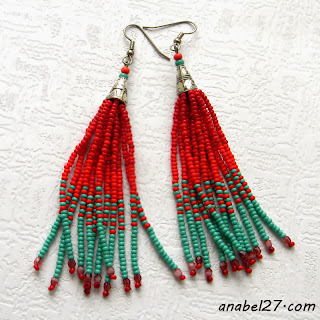 Серьги-кисти из бисера - красные с бирюзовым - 186 / 365