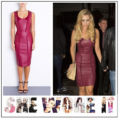 Burgundy, Catherine Tyldesley, Coronation Street, Faux Leather, Forever Unique, Jersey, Panel, Pencil Dress, Red, Sleeveless,