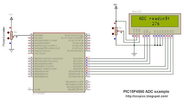 PIC18F4550 ADC circuit with LCD display CCS C