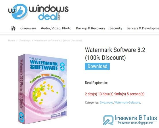 Offre promotionnelle : Watermark Software 8.2 à nouveau gratuit !