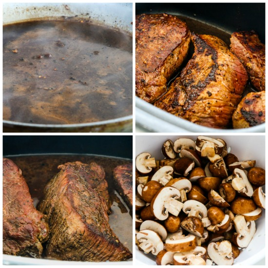 Low-Carb Slow Cooker Mushroom Lover's Pot Roast found on KalynsKitchen.com.