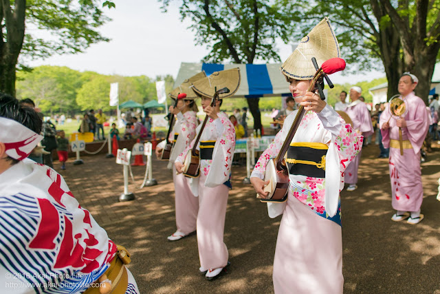 紅連、小金井子供フェスタでの阿波踊り、鳴り物、三味線奏者
