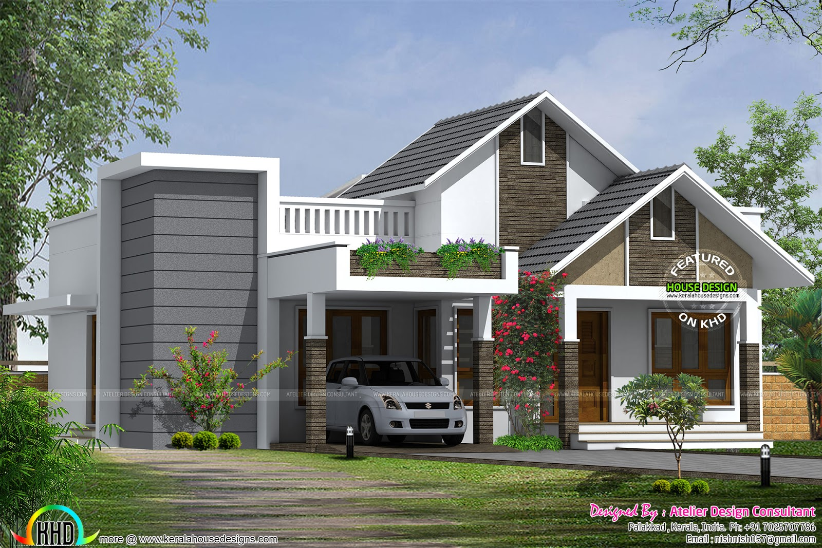 March 2016 kerala home design and floor plans for House arch design photos