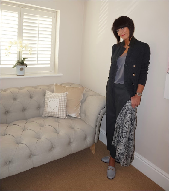 My Midlife Fashion, Uniqlo knitted double breasted jacket, modern rarity lace trim silk camisole, zara wide legged trousers, hush snakeprint cashmere scarf, river island soft leather loafers