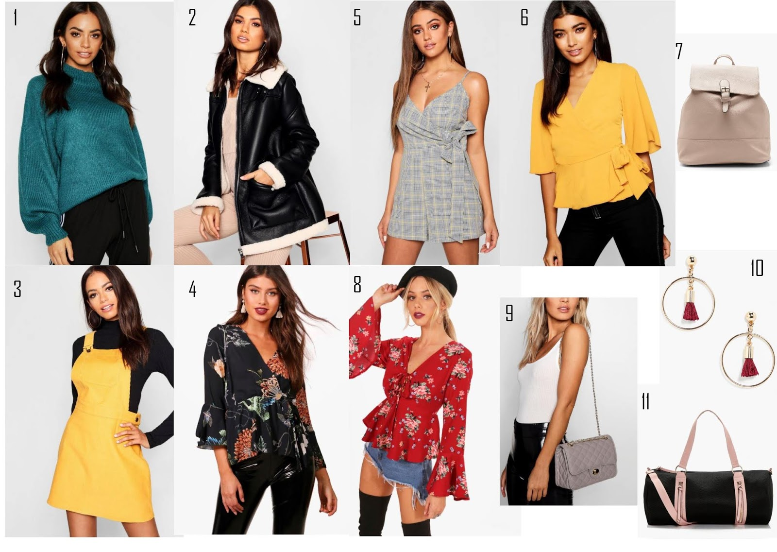 My Boohoo wishlist featuring coats, jumpers, dresses and accessories