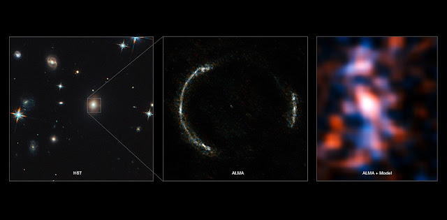 Montage of the SDP.81 Einstein Ring and the lensed galaxy. Credit: ALMA (NRAO/ESO/NAOJ)/Y. Tamura (The University of Tokyo)/Mark Swinbank (Durham University)