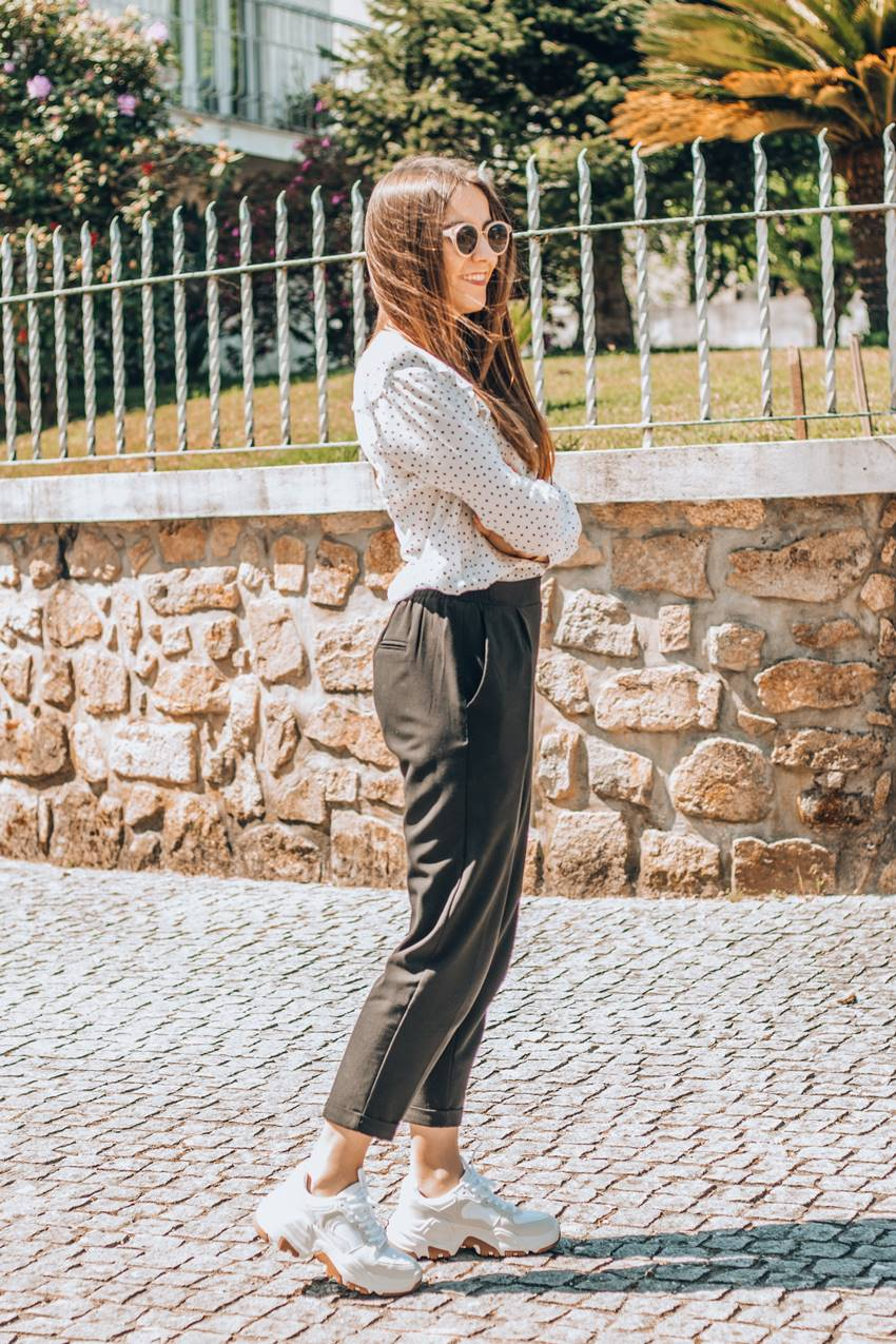 how to wear chunky sneakers with formal pants