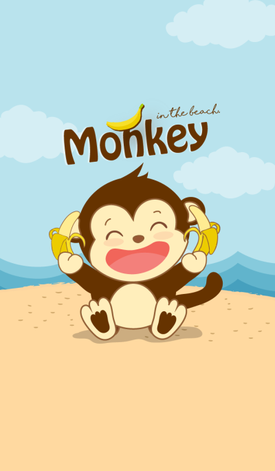 Monkey in the beach. (Yellow ver.)