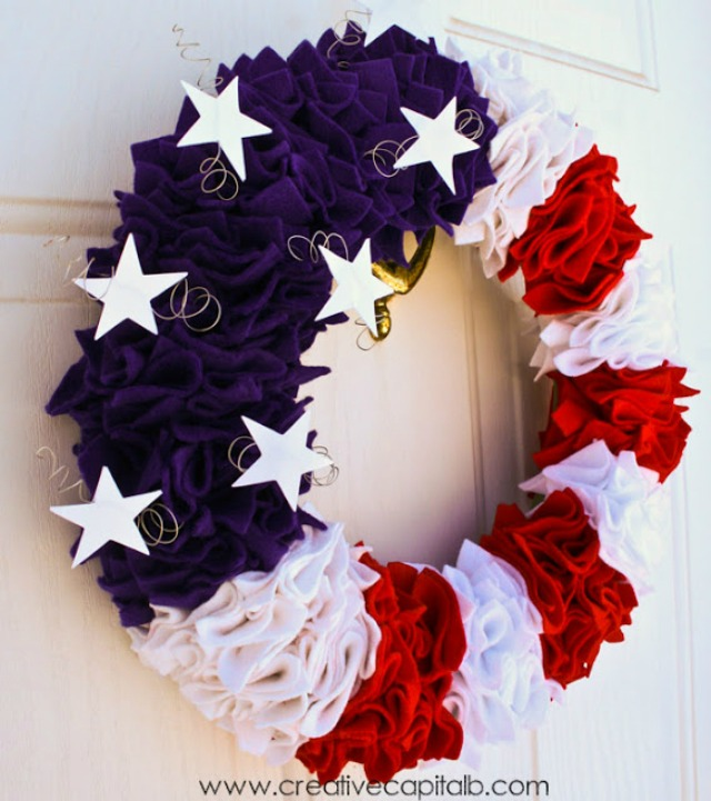 DIY Ruffled Patriotic Wreath