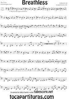 Partitura de Breathless para Chelo y Fagot Partitura de The Corrs (Music Scores Breathless  Sheet Music for Cello and Bassoon)